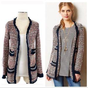 Anthro Moth Grafton Knit Fringe Cardigan Sweater